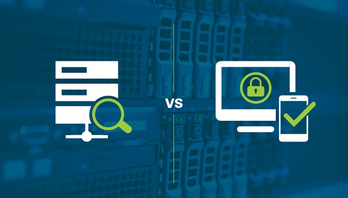 Graphic of an unsecured computer vs a secured computer.